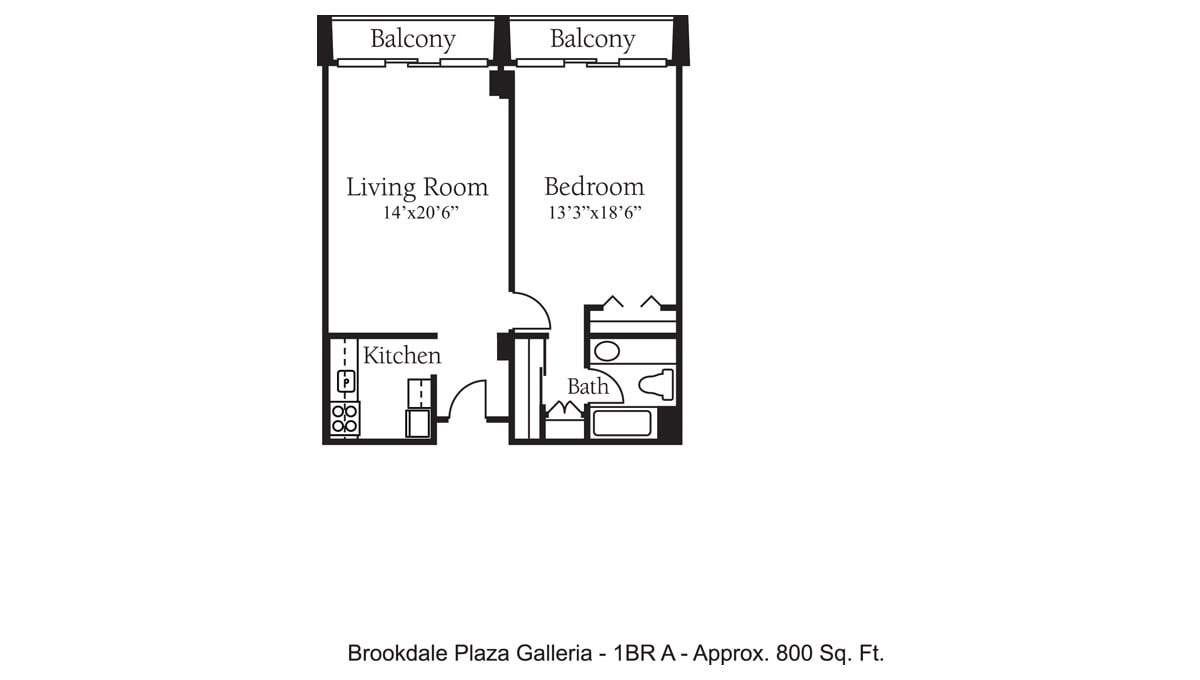 Brookdale Galleria floor plan Independent Living - One Bedroom A