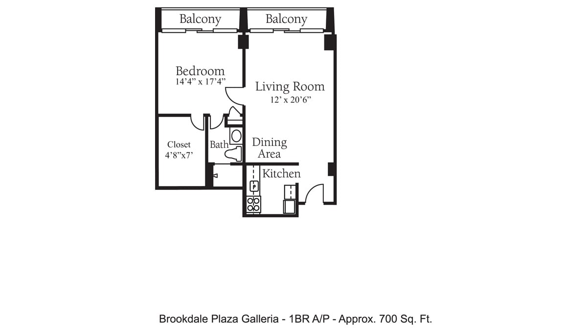 Brookdale Galleria floor plan Independent Living - One Bedroom A P