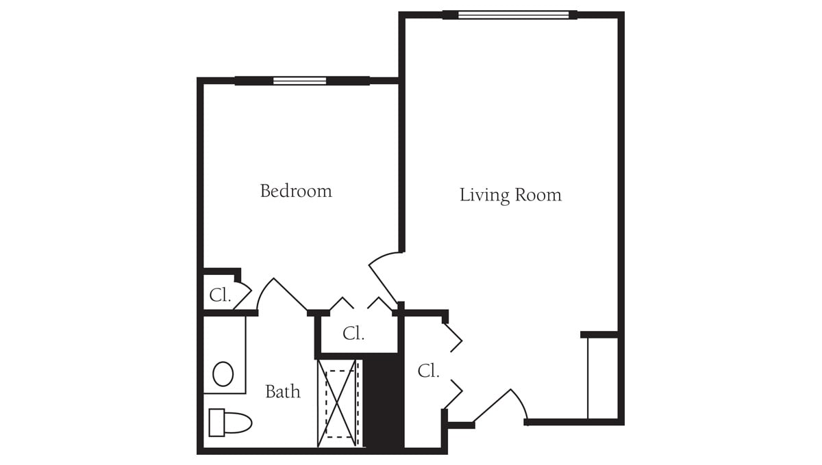 Brookdale Galleria floor plan Assisted Living - One Bedroom Deluxe