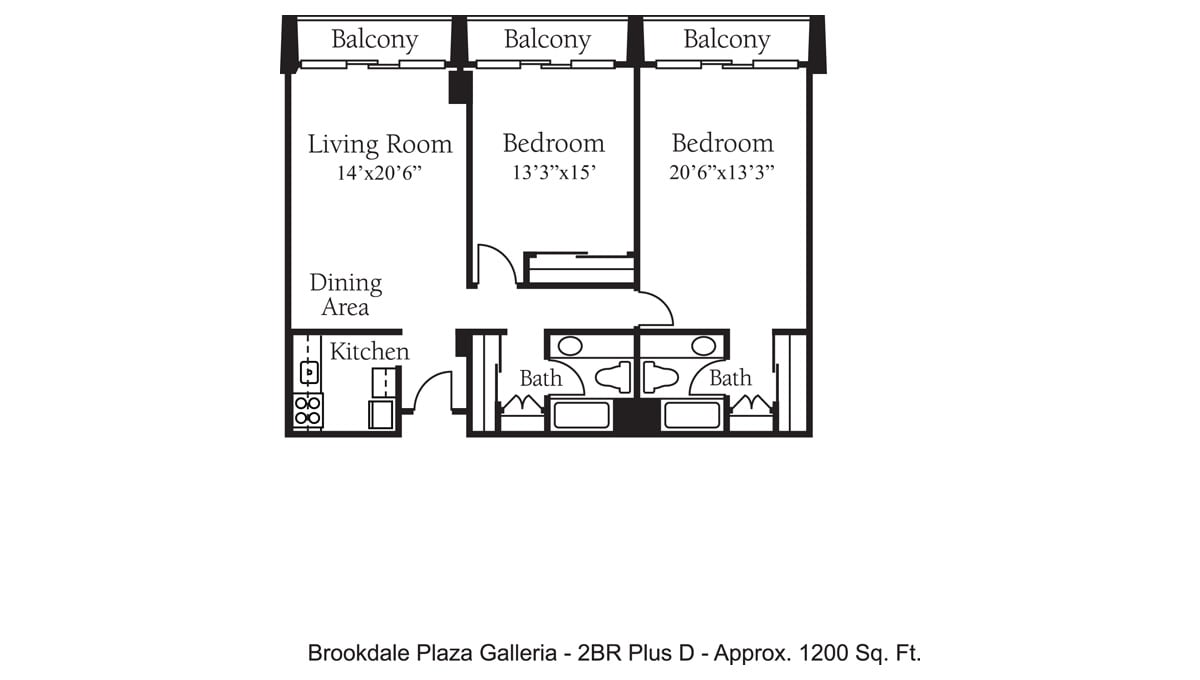 Brookdale Galleria floor plan Independent Living - Two Bedroom Plus