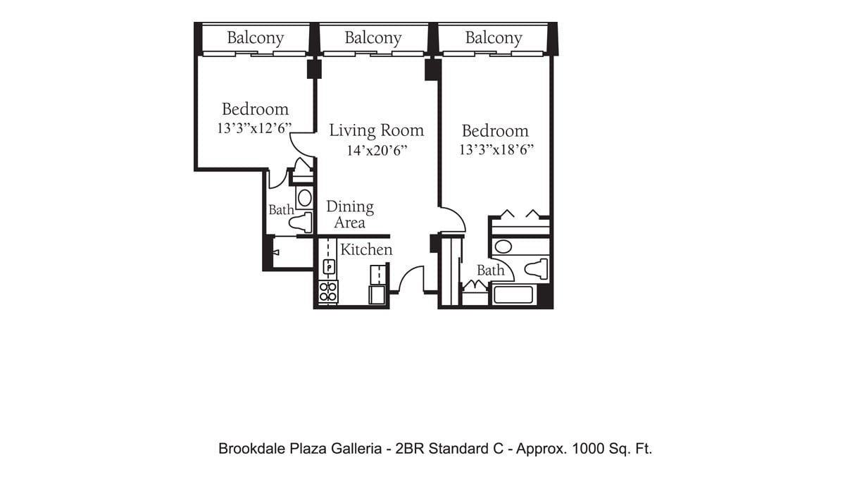Brookdale Galleria floor plan Independent Living - Two Bedroom Standard