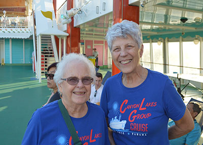 Myrlen and Brookdale Canyon Lakes resident on their annual community cruise