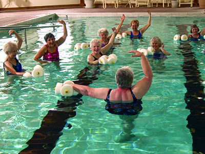 group exercises in the swimming pool