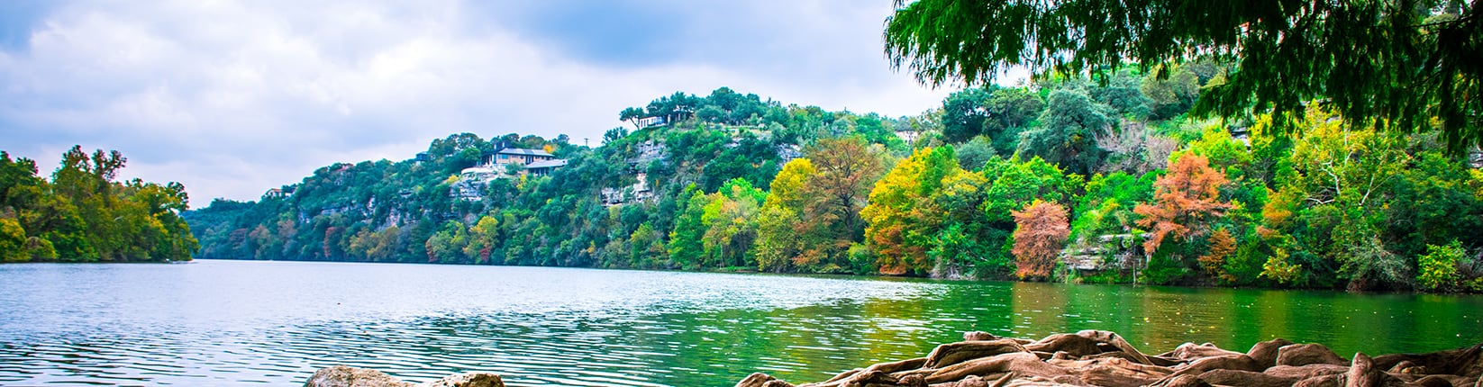 Austin lake with fall trees