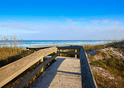 Jacksonville beach and walkway