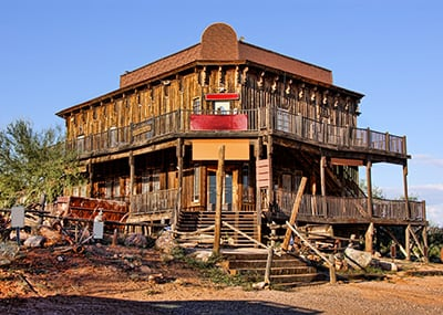 Old West ghost town building